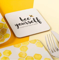 "Pack 4 posavasos de corcho ""Bee yourself"""