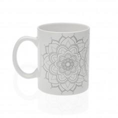 Mug o taza porcelana blanca y gris Mandalas